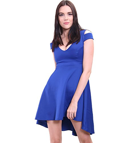 20 8 Dress Royal Cut New Plus size Ladies Mini Women's Sexy UK Cold Blue Skater Shoulder Pleated Out 6xAZSwB
