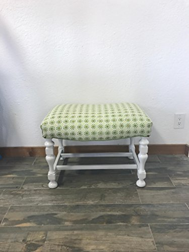 Upholstered Green Bench with White Pedestal Base | Quadrille Fabrics