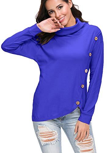levaca Women's Casual Turtleneck Long Sleeve Tunic Pullover Tees Shirt Blue XL -