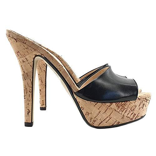 Pelle Base Nera Shoes nero Nero Zoccolo In Sexy Ke103 Fascia Kiara Sughero qwYSpxBp