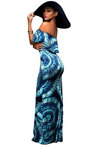 Imprimé Ventilateur Bleu Off épaule Maxi robe d'été Robe Jersey Long Parti robe taille M UK 10–12–EU 38–40