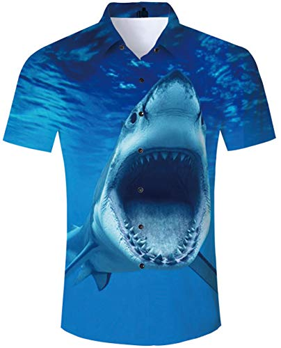 TUONROAD Men Boy Youth Tropical Beach Theme Hawaiian Island Shirt Animal Print Turquoise Seawater Scary Open Mouth Shark Teeth Short Sleeve Shirt Novelty Unique Vegas Custom Button Down Shirt