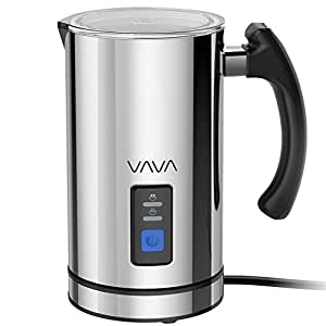 VAVA, VA-EB008, Milk Frother Electric Liquid Heater with Hot or Cold Milk Functionality, Electric Milk Steamer, Stainless Steel, Silver (FDA Approved)