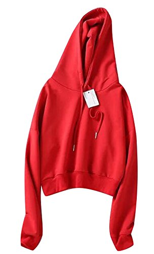 (Only Faith Women Long Sleeve Sweatshirt Hoodie Pullover Crop Top Jacket (S, Red))