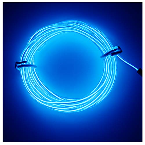 Amicc® 3m 9ft Portable Neon Light El Wire with Battery Pack Neon Glowing Strobing Electroluminescent Wire for Parties, Halloween Decoration (3m 9ft, Blue) -