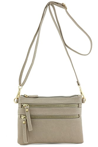 Multi Zipper Pocket Small Wristlet Crossbody Bag (Dove)