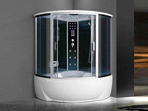 Box hidromasaje semicircular 150 x 150 cabina con bañera Bluetooth ...