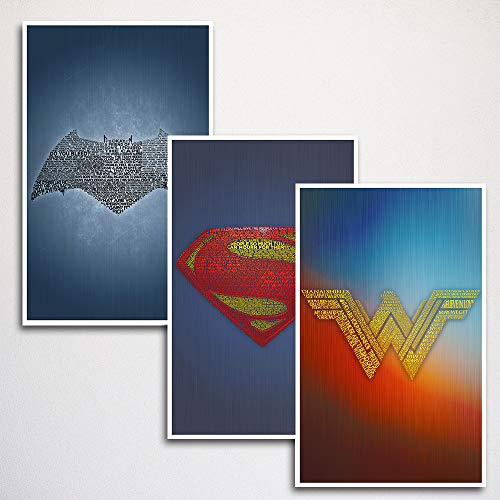 Justice League Word Art Print Three Set | Batman, Superman, Wonder Woman | 11x17