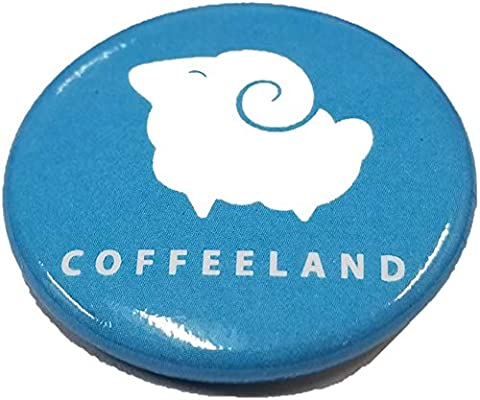 1.25 Size Coffeeland Custom Logo Blue Round Button Pin