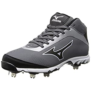 Mizuno Men's Vapor Elite 7 Mid Baseball Cleat,Grey/Black,13 M US