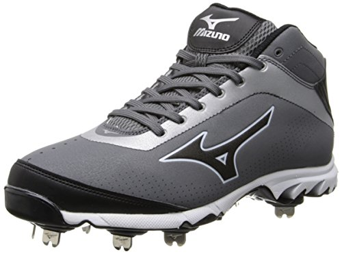 Mizuno Men's Vapor Elite 7 MID-M, Grey/Black, 13 M US (All Star Game Cleats)