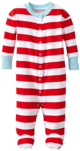 New Jammies Baby-Boys Newborn Organic Classic Stripes With Blue Trim Footie, Red/White, 6 Months