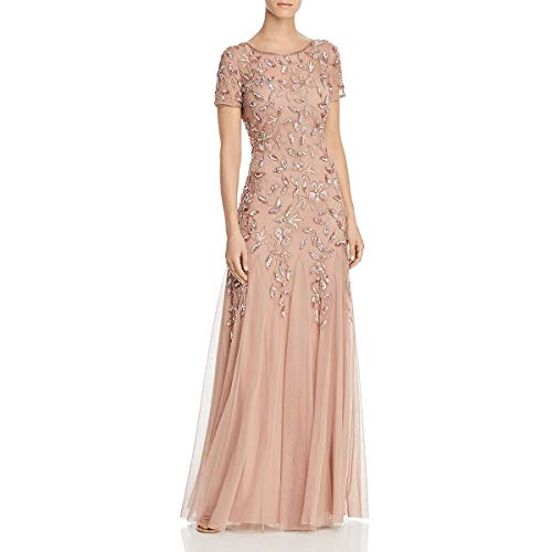 Adrianna Papell Women's Floral Beaded Godet Gown, Rose Gold, 8