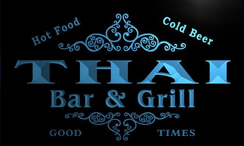 u44726-b THAI Family Name Bar & Grill Home Decor Neon Light Sign by AdvPro Name