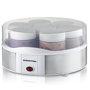 Gourmia GYM1610 Auto Yogurt Maker - 7 Glass Jars - Customize Flavor & Thickness - Free Recipe Book Included