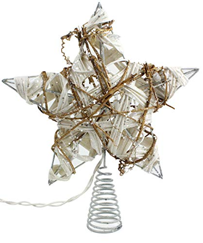 (SAM + Ollie Rustic Christmas Tree Topper Star, 10 Light Indoor White Rattan Natural Grapevine)