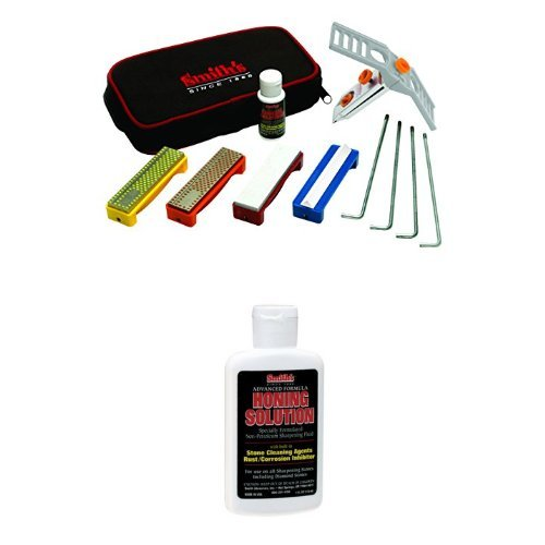 Smith's 50592 Diamond/Arkansas Stones Precision Knife Sharpening System plus additional  larger size Hon Solution
