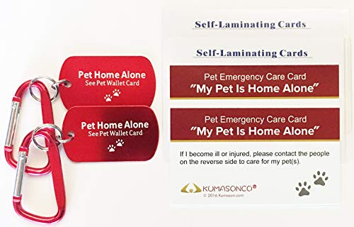 KumasonCo Dog Identification Tag and Emergency Wallet Card Kit (Pack of 2)]()