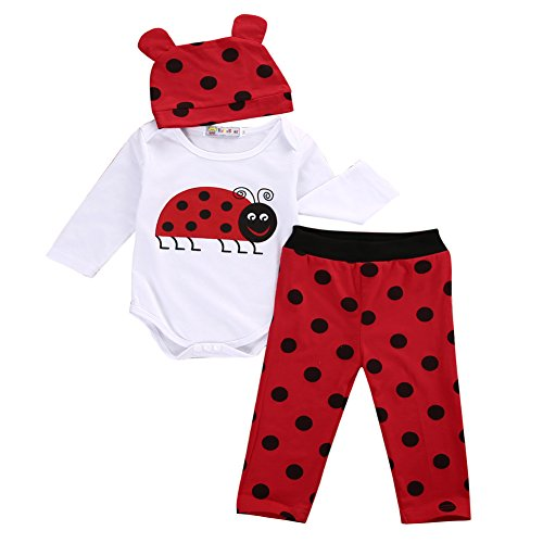 3pcs Cute Infant Baby Boys Girls Animal Long Sleeve Romper Tops+ Pants+ Hat Outfits Set (0-6 Months, Ladybug) -