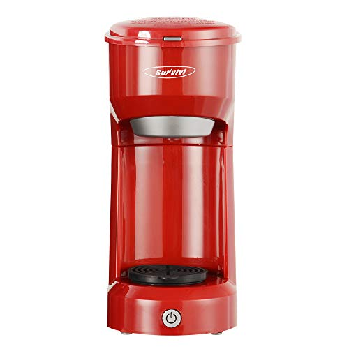 Single Serve Coffee Maker Brewer for Single Cup, K-Cup Coffeemaker With Permanent Filter, 6oz to 14oz Mug, One-touch Control Button with Illumination,Red
