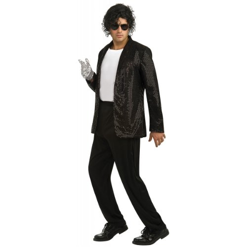 Deluxe Michael Jackson Jacket Adult Costume Billie Jean Jacket (Black Sequin) - Medium - 80s Jean Jacket Costume
