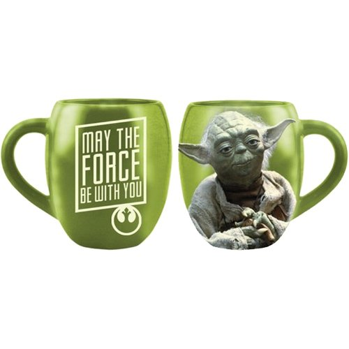 Yoda Ceramic (Vandor 99068 Star Wars Yoda 18 oz Oval Ceramic Mug, Green)