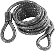Cable Lock, Bike Lock Cable, 1.8m/5.9ft Braided Steel Flex Cable Bike Chain Lock, Security Steel Cable with Lo