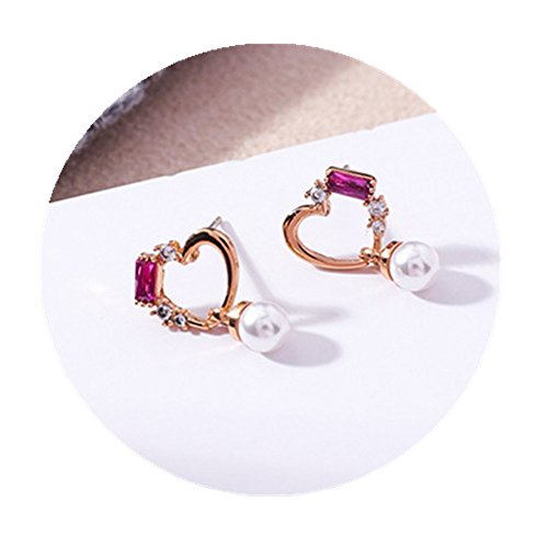 Fashion Novel Cute Sweet-heart Shaped Crystal Multi Element Stud (Sweetheart Shaped Crystal)