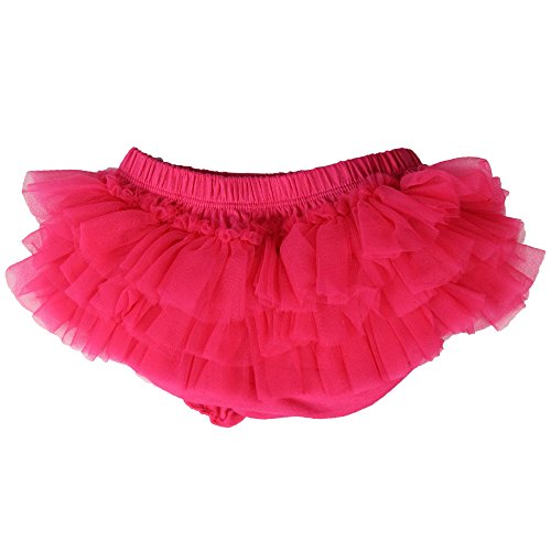 juDanzy Ruffle Chiffon or Satin Tutu All Around Bloomer Diaper Cover (0-6 Months, Hot Pink)