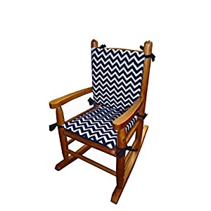 Baby Doll Bedding Minky Chevron Junior Rocking Chair Pad, Navy/White