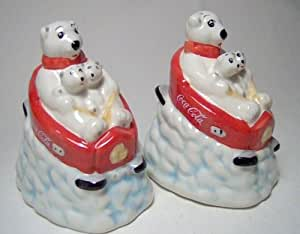 Coca-cola Sledding Bears Salt and Pepper Shakers Set