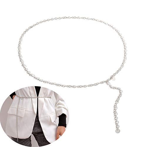 Jurxy Multilayer Alloy Waist Chain Body Chain for Women Golden Waist Belt Pendant Belly Chain Adjustable Body Harness for Jeans Dresses - Silver Style 5