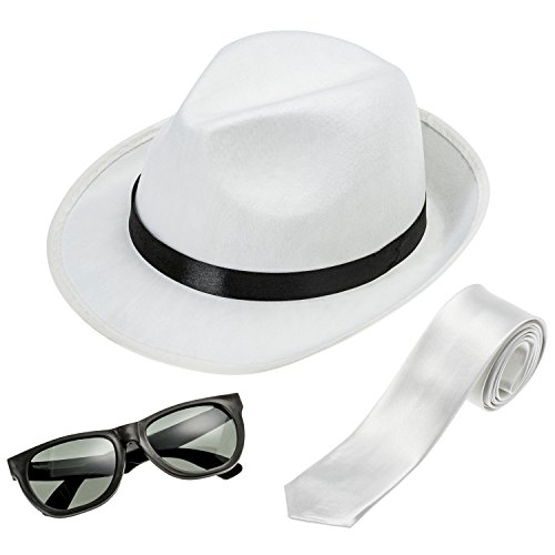 NJ Novelty Gangster Costume Hat, Suspenders and Tie Set Roaring 20s Accessories (White Hat, White Tie & Glasses)