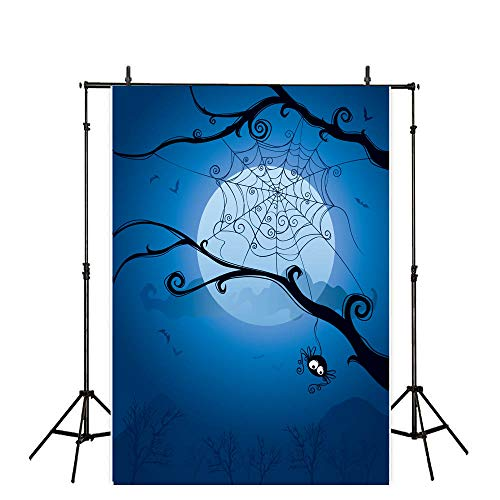 Allenjoy 7x5ft Halloween Themed Photography Backdrop Scary Tree Branch Spider Web Under The Moon Background Photo Studio Booth Photographer Props -