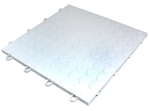 Coin Pattern Modular Interlocking Garage, Patio, Deck Tiles - White 20 Tile Set (Plastic Garage Floor Tiles)