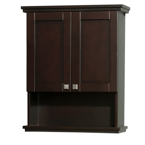 Bathroom Wall Cabinets Oak (Wyndham Collection Acclaim Solid Oak Bathroom Wall-Mounted Storage Cabinet in Espresso)