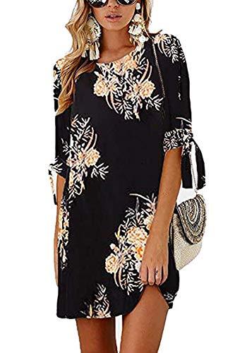 DDSOL Women's Casual Shift Dress Floral Crew Neck 3/4 Sleeve Mini Casual Dress Black
