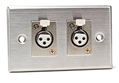 CAD Audio 40-348 Stainless Steel Dual 3-Pin XLR-F Connectors Duplex Wall Plate
