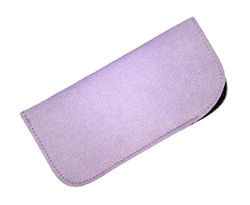 Soft Slip In Eyeglass Case For Women - Faux Suede Slip Case in Sparkling Purple
