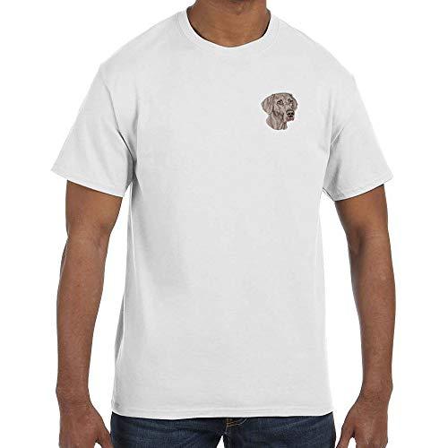 Breed Weimaraner T-shirt - Cherrybrook Dog Breed Embroidered Mens T-Shirts - Large - White - Weimaraner