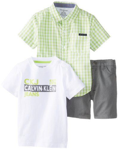 Calvin Klein Baby-Boys Infant Plaided Shirt with Tee and Short, Green, 24 Months
