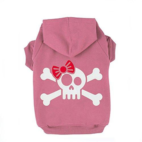 JIEYA Small Dog Hoodie Pet Skull with Bow Pattern Printed Sweatshirt Pullover Coat for Puppy (Skull Pink Hoodie)