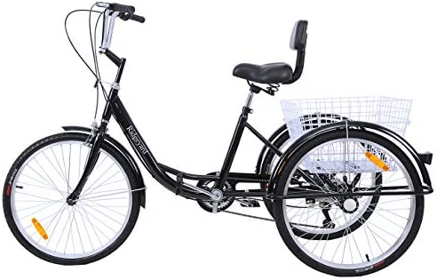 """Details about  /Adult Tricycle 24/"""" 7-Speed Trike 3-Wheel Bicycle w// Basket Lock for Shopping"""