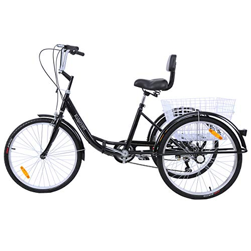 Ridgeyard 6 Speed 24 Inch 3 Wheel Adult Tricycle Bike Cycling Pedal Cruiser Bicycles Folding Basket