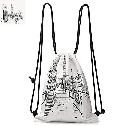 Modern Printed drawstring backpack London City with Big Ben Monument Scene in Sketch Style British Famous Town Artwork Suitable for school or travel W13.8 x L17.7 Inch Beige Black