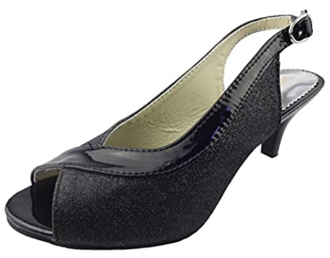 SHOWHOW Women's Sexy Glitter Open Toe Stiletto Kitten Heels Pumps Black 8 B(M) US - Retro Peep Toe