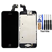CELLPHONEAGE® For iPhone 5C New LCD Touch Screen Replacement with Frame Black Full Set with Home Button and Camera Digitizer Display + Free Tool Kits