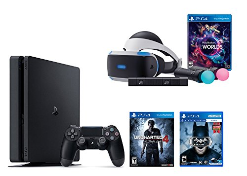 PlayStation VR Launch Bundle 3 Items:VR Launch Bundle,PlayStation 4 Slim 500GB Console – Uncharted 4,VR Game Disc Arkham VR