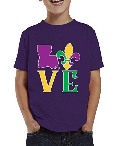 SpiritForged Apparel Love Louisiana Mardi Gras Toddler T-Shirt, Purple 5T/6T