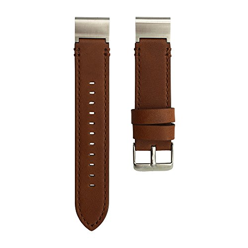 LDFAS Fenix 5S Plus Band, Quick Release Easy Fit 20mm Genuine Leather Watch Bands for Garmin Fenix 5S/5S Plus Smartwatch, Brown/Silver by LDFAS